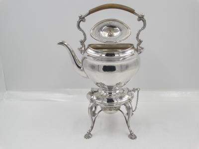 Engels zilveren Bouilloire/ theeketel op brander, 1908