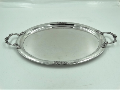Grote zilveren serveerschaal/ dienschaal met grepen