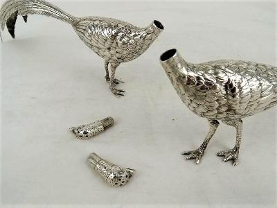 Stel zilveren tafelstukken, Fazanten, 24 cm