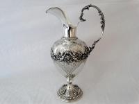 Grote zilveren schenkkan circa 40 cm hoog, Rococostijl, Italie
