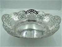 moderne opengewerkte zilveren broodmand