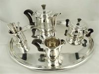 4-delig Zilveren Art Deco theeservies