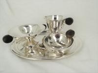 Art Deco zilveren roomstel op blaadje 5 delig