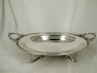 Ovale zilveren serveerschaal op pootjes
