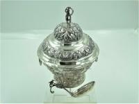 Friese zilveren roomkom met deksel en roomlepel, 1867